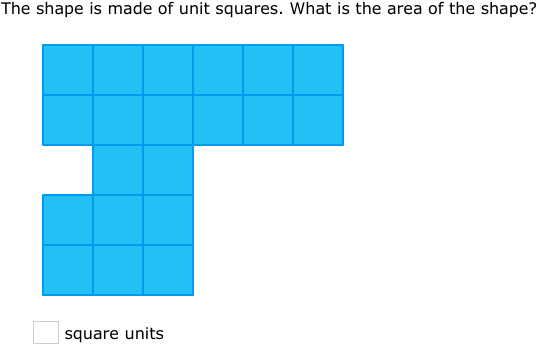 IXL - Area of figures made of unit squares (Year 7 maths practice)